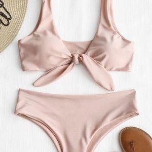 ZAFUL, pink tie up bikini, Medium